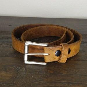 Vintage Leather Tooled Brown Belt size 36